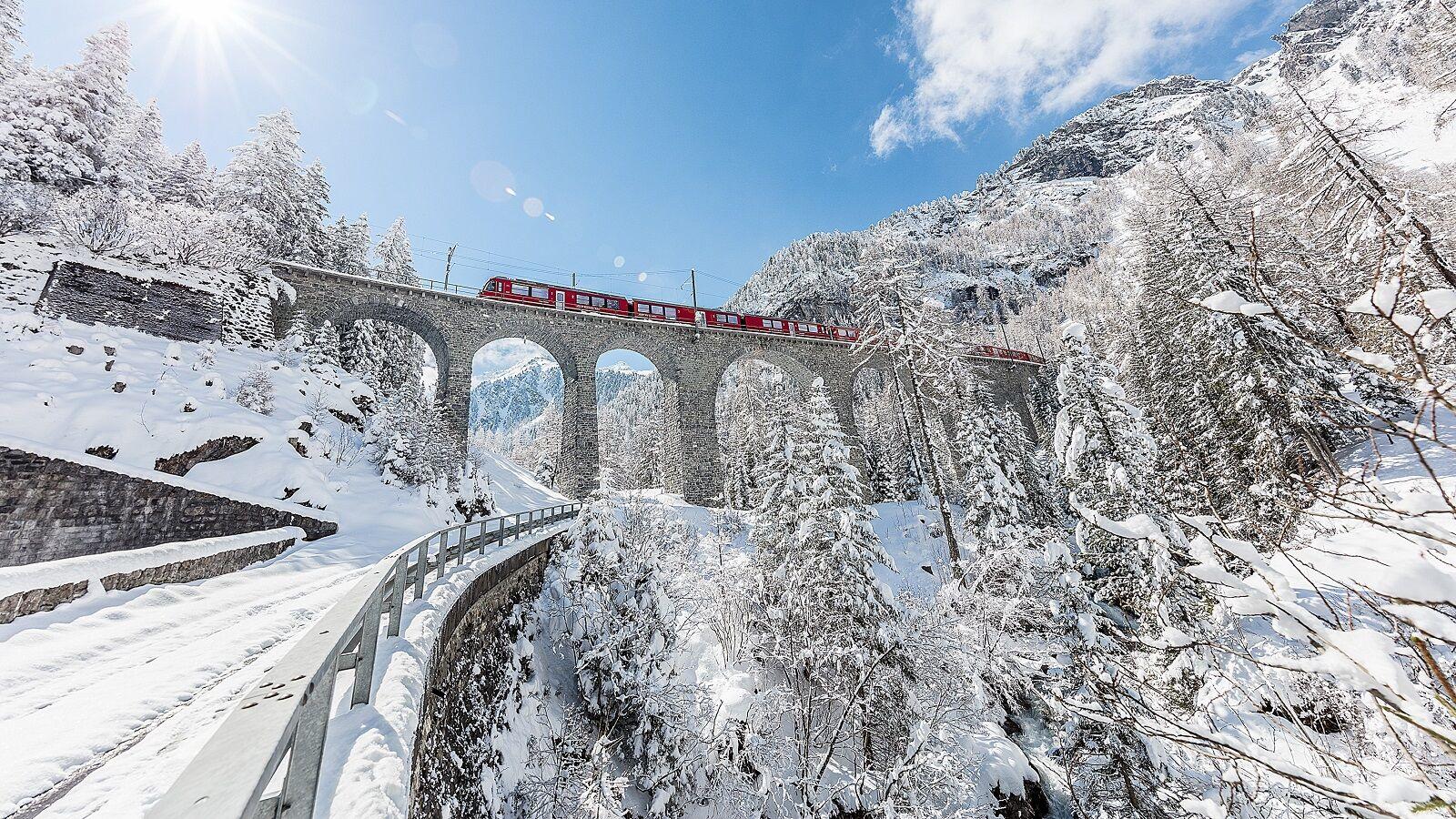 Rhätische Bahn, Albulalinie, Albluaviadukt II, Winteraufnahme