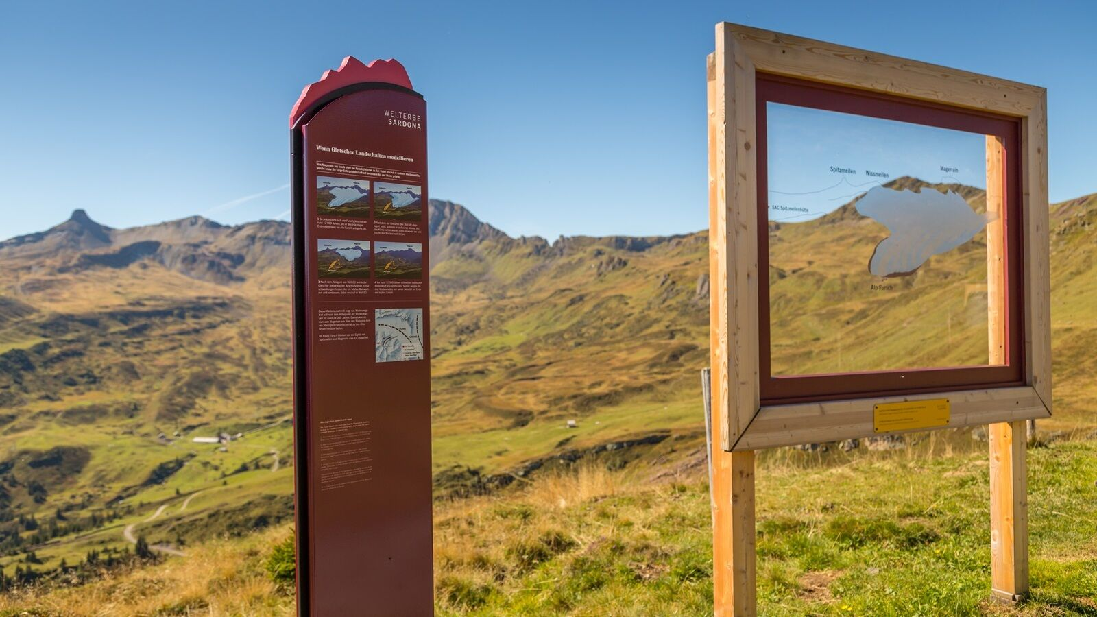 The UNESCO information panels convey exciting knowledge about the formation of the Alps
