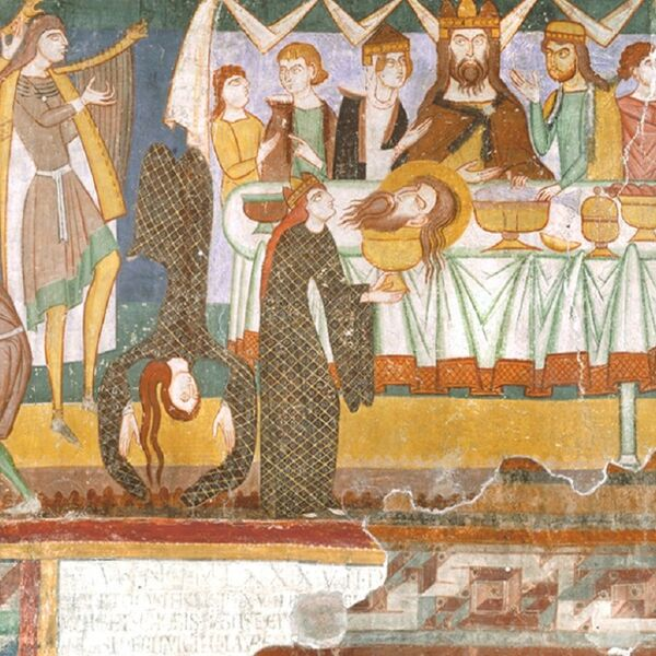 Herod's banquet: Romanesque mural in the monastery church of Müstair